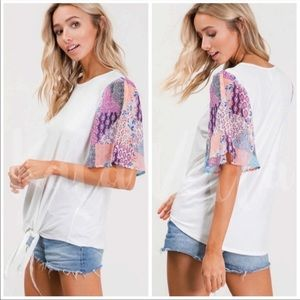 Boho white top with spring colored sleeves